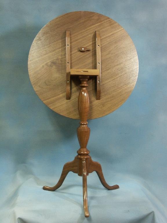 Walnut and Ash Tilt Top Table Back