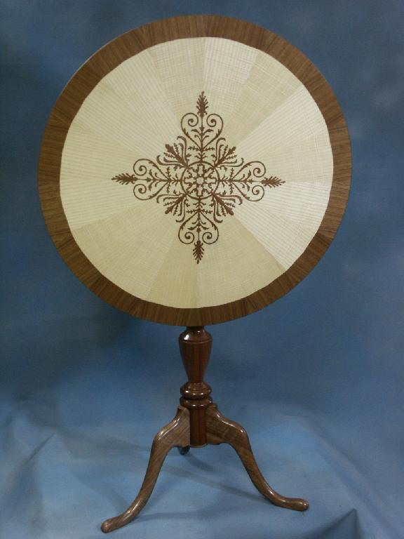 Walnut and Ash Tilt Top Table Front
