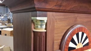 Grandfather clock body column details