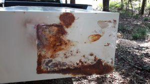 rusted storage cabinet