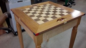 chess table with the top installed, top view