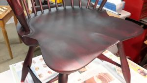 Windsor chair first coat of General Finishes Lamp Black
