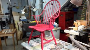 Windsor chair with Holiday Red paint