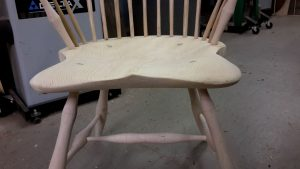 Windsor chair seat final shape and rough sanded